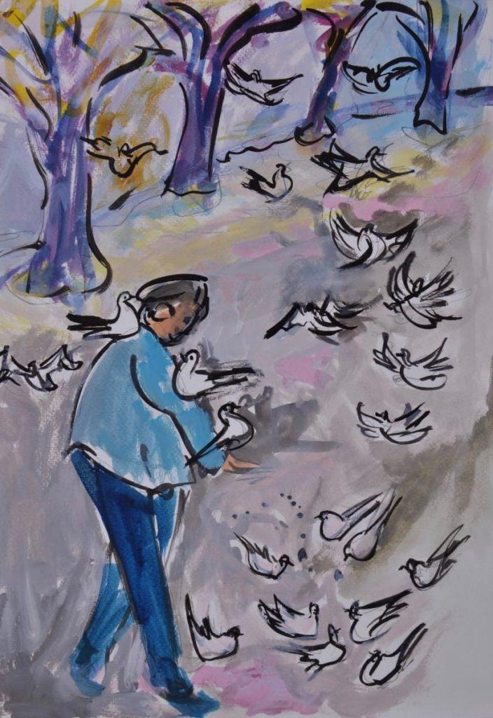 Tauben füttern in Graz
