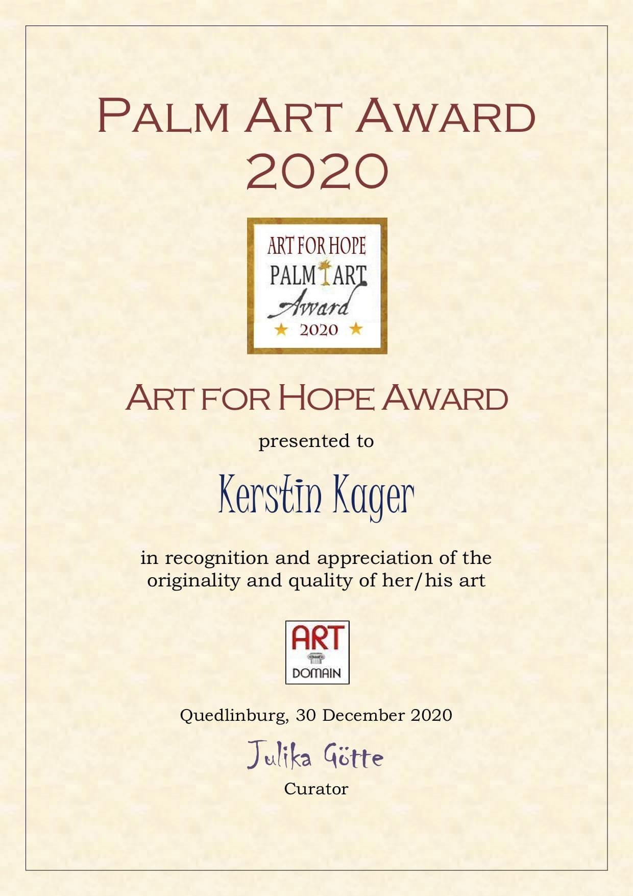 Auszeichnung mit Art for Hope Award